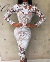 ファッション女性ドレス長袖レース膝丈ボディコン包帯ドレス夜のパーティードレス