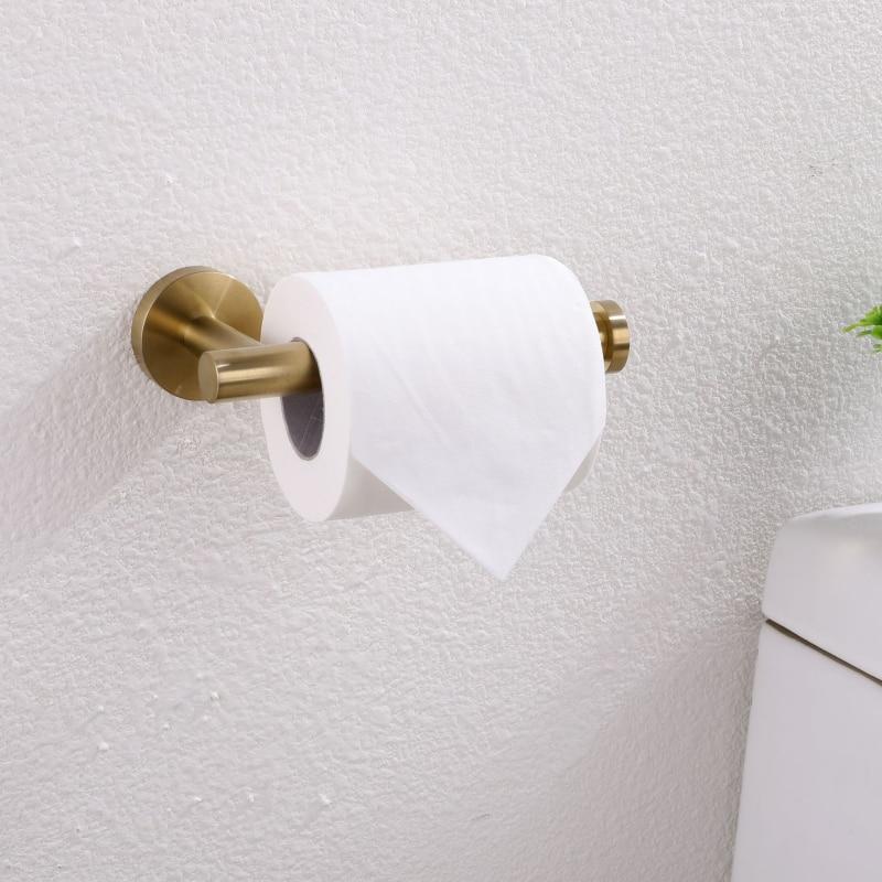 304 Stainless Steel Roll Paper Holder Wall Mounted Gold Toilet Paper Holder Bathroom Hardaware Set Brushed Tissue Paper Shelf