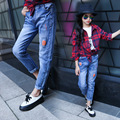 Pantalones de los bebés de dibujos animados teenage girls leggings pantalones para niñas pantalon de mezclilla vaqueros pantalones de Mickey 4-14 años los niños pantalones de los pantalones