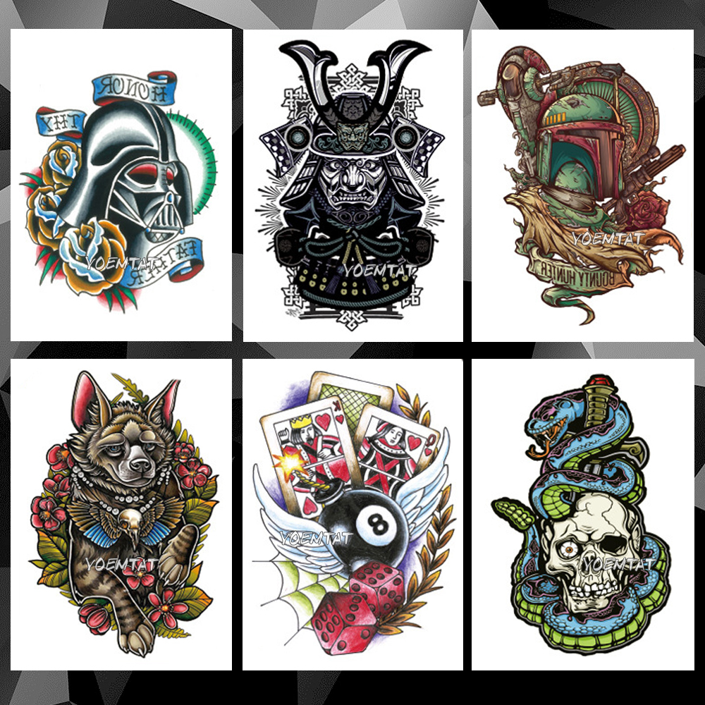 Waterproof Temporary Tattoo Sticker Warrior Skull Old School Pattern Tattoo Water Transfer Color Body Art Fake Tattoo For M
