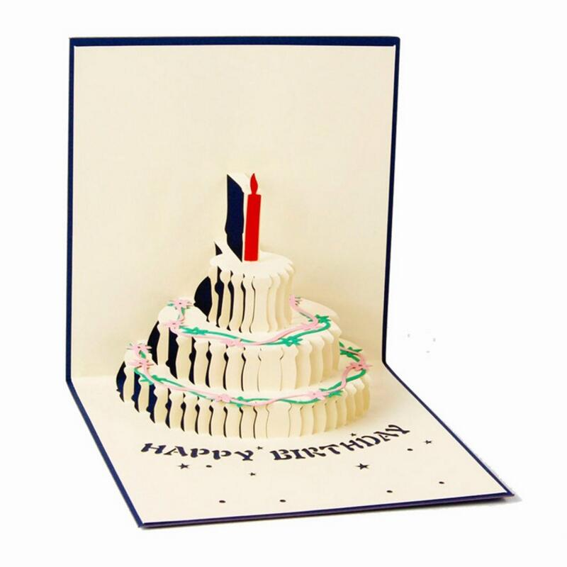 5pcs/lot 3D Handcrafted Origami Birthday Cake Candle Design Greeting Card Envelope Invitation