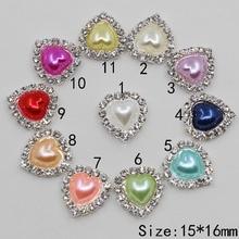 Düz geri 10 Pc inci kalp mini rhinestone düğme DIY düğün inviations hediye kutusu süslemeleri çocuk giyim güzellik aksesuarları