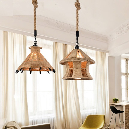 American Loft Style Iron Rope Droplight Edison Industrial Vintage Pendant Light Fixtures For Dining Room LED Hanging Lamp american loft style creative droplight iron led pendant light fixtures vintage industrial lighting for dining room hanging lamp