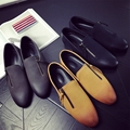 Nuevos 2016 Hombres Zapatos Casuales de Primavera Slip On Zapatos de Los Planos de Los Hombres Zapatos de Cuero Negro Para Los Hombres Mocasines Zapatos Hombre