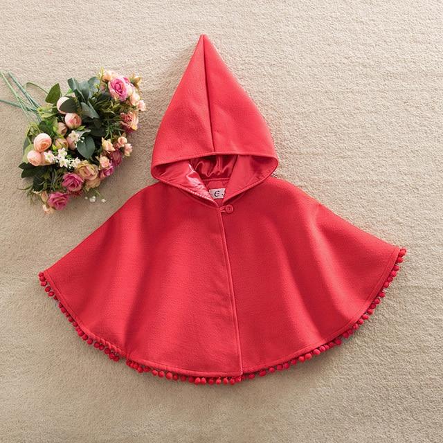 Europa y los Estados Unidos estilos Sombrero de Duende de la navidad Con Capucha Batwing pom pom Fashion girls Año Nuevo rojo de manga capa de lana abrigo