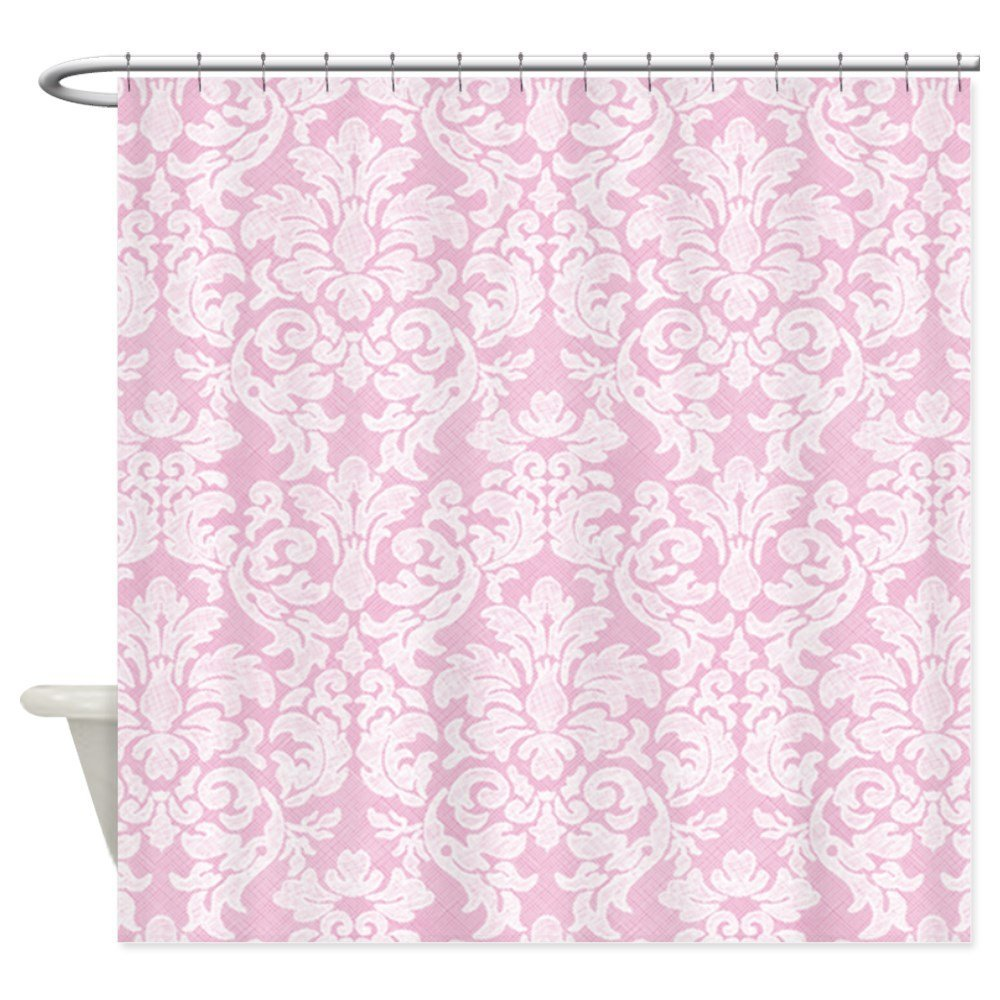 Lace Pattern White Pink Shower Curtain Decorative Fabric