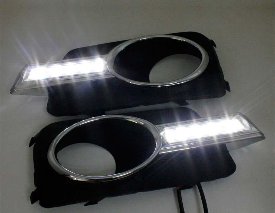 Accessories for Volkswagen Tiguan 2010 2011 2012 LED Daytime Running Light LED Car DRL fog lamp 2PCS with Voltage controller dongzhen 1 pair daytime running light fit for volkswagen tiguan 2010 2011 2012 2013 led drl driving lamp bulb car styling
