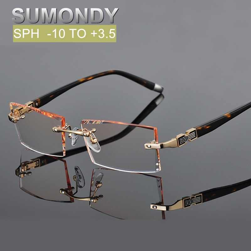 Prescription Glasses Diopter SPH 0 to -10 or 0 to +3.5 Myopia or Presbyopia Glasses Men Rimless Gradient Colors Spectacles UP013