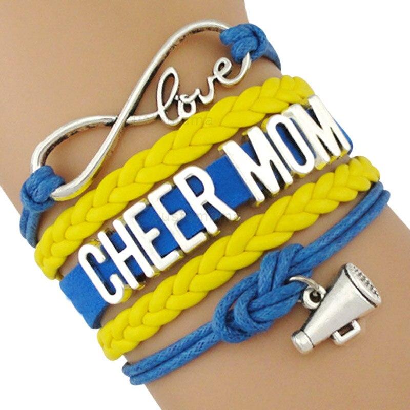 Cheer Mom Leader Sports Megaphone Infinity Love Charm Bracelets Black Blue Red Women Men Boy Girl Unisex Jewelry Drop Shipping