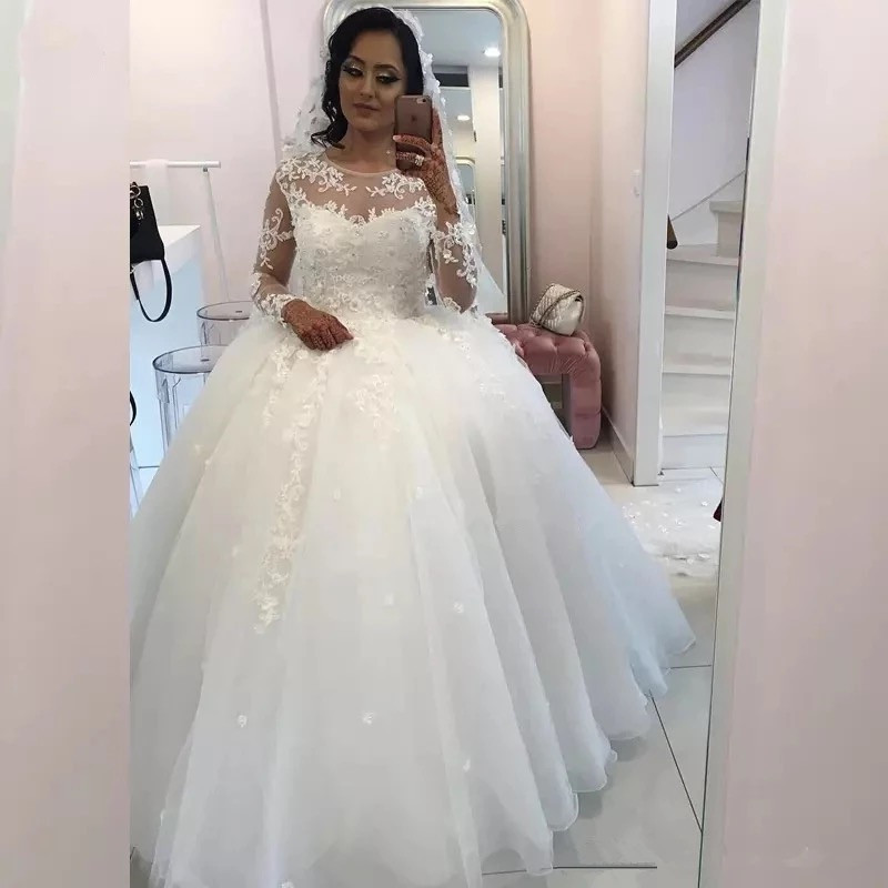 2019 Wedding Ball Gowns: Ball Gown Fluffy Long Sleeve Tulle Lace Flowers Luxury