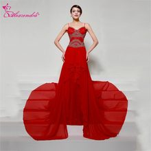Alexzendra Red A Line Chiffon Long Formal Evening Dress 2018 Straps Beaded  Log Prom Dresses Plus Size Special Party Dresses e086712492ad