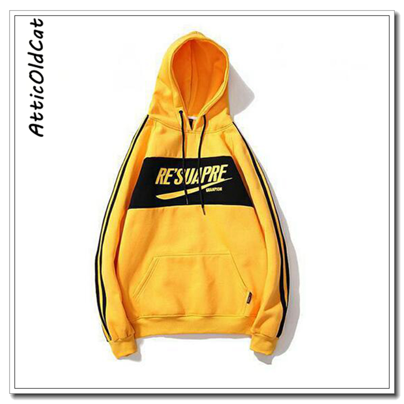 2019 New brand Hoodie Streetwear Casual Solid Yellow White Black gray Hooded Hoody Mens Hoodies and Sweatshirts Size S XXL