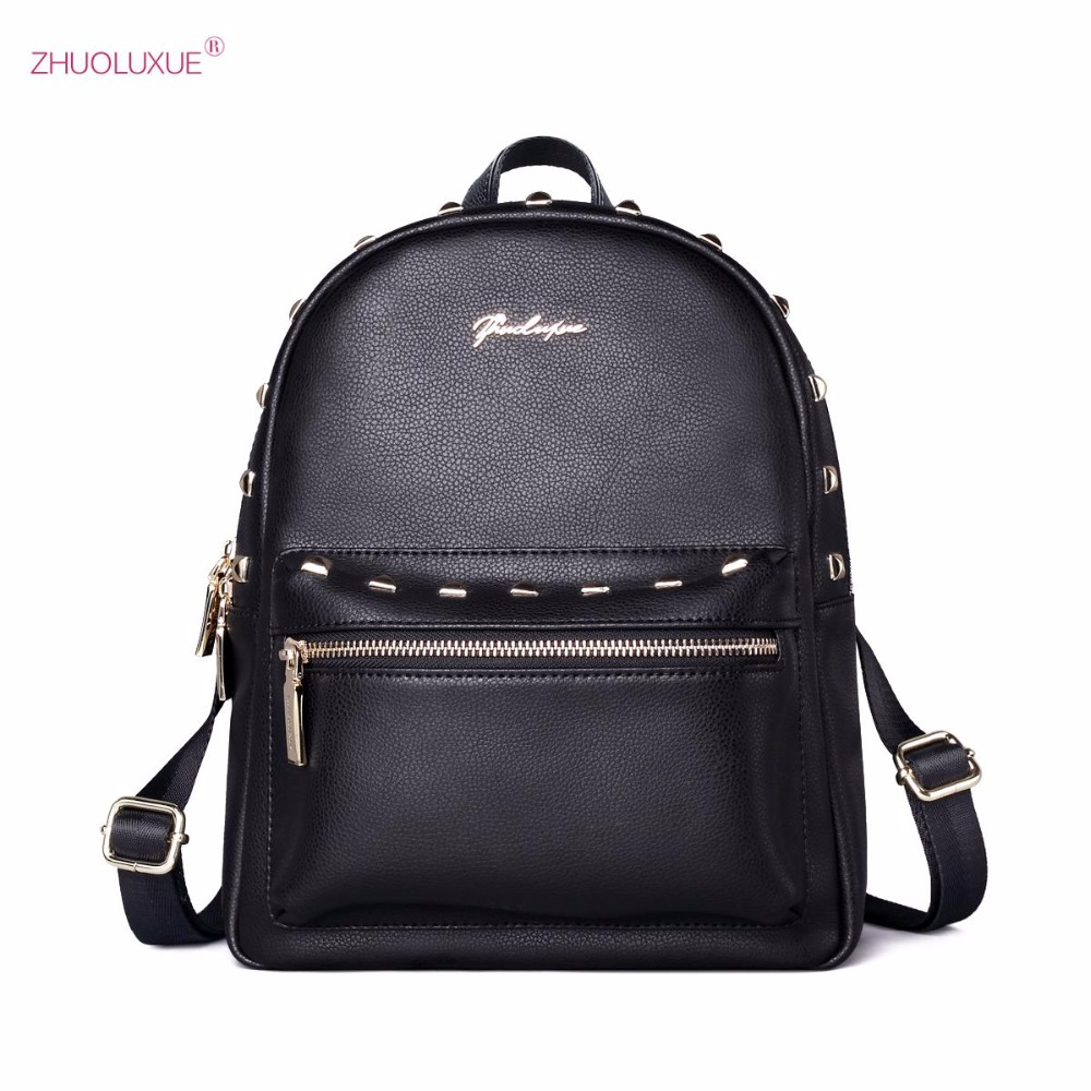 2017 NEW Brand Design Fashion Rivets Cow Leather Women's Backpacks Shoulder School Travel Bags For Ladies Girls new brand designer women fashion backpacks simple koran style school for teenager girls ladies shoulder bags black