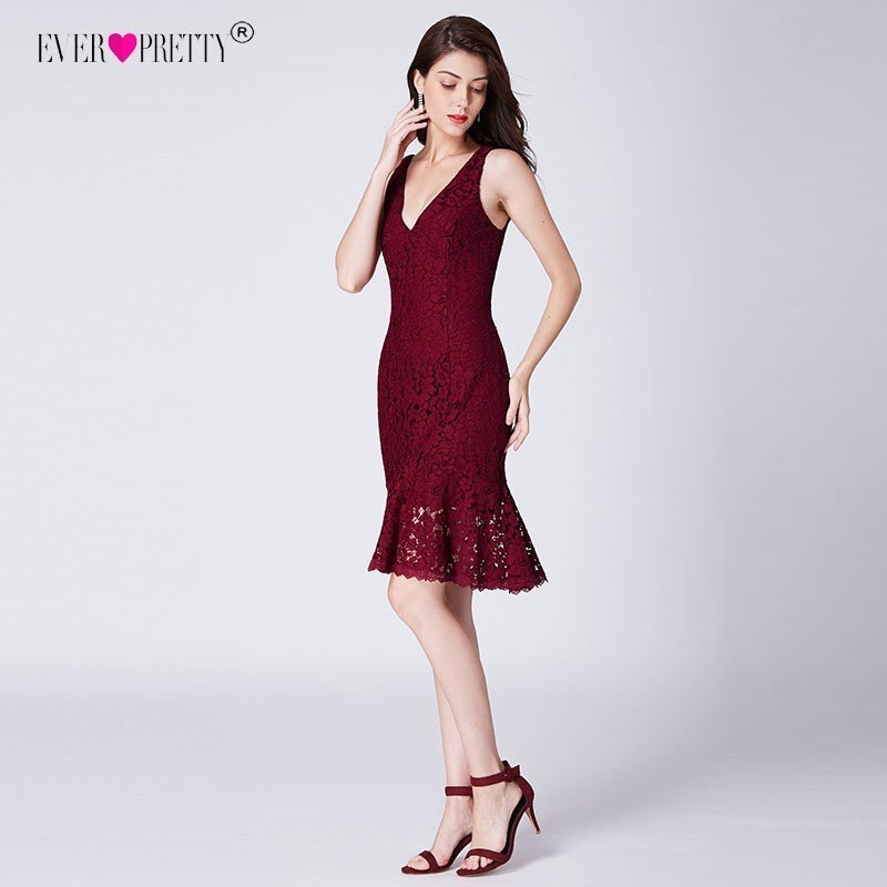 Ever Pretty Sexy Burgundy Short Cocktail Dresses V Neck Mermaid Lace Party Gowns AS04119BD Fashion Bodycon Dress Robe Cocktail