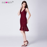 Ever Pretty Sexy Burgundy Short Cocktail Dresses V Neck Mermaid Lace Party Gowns AS04119BD Fashion Bodycon Dress Robe Cocktail Cocktail Dresses