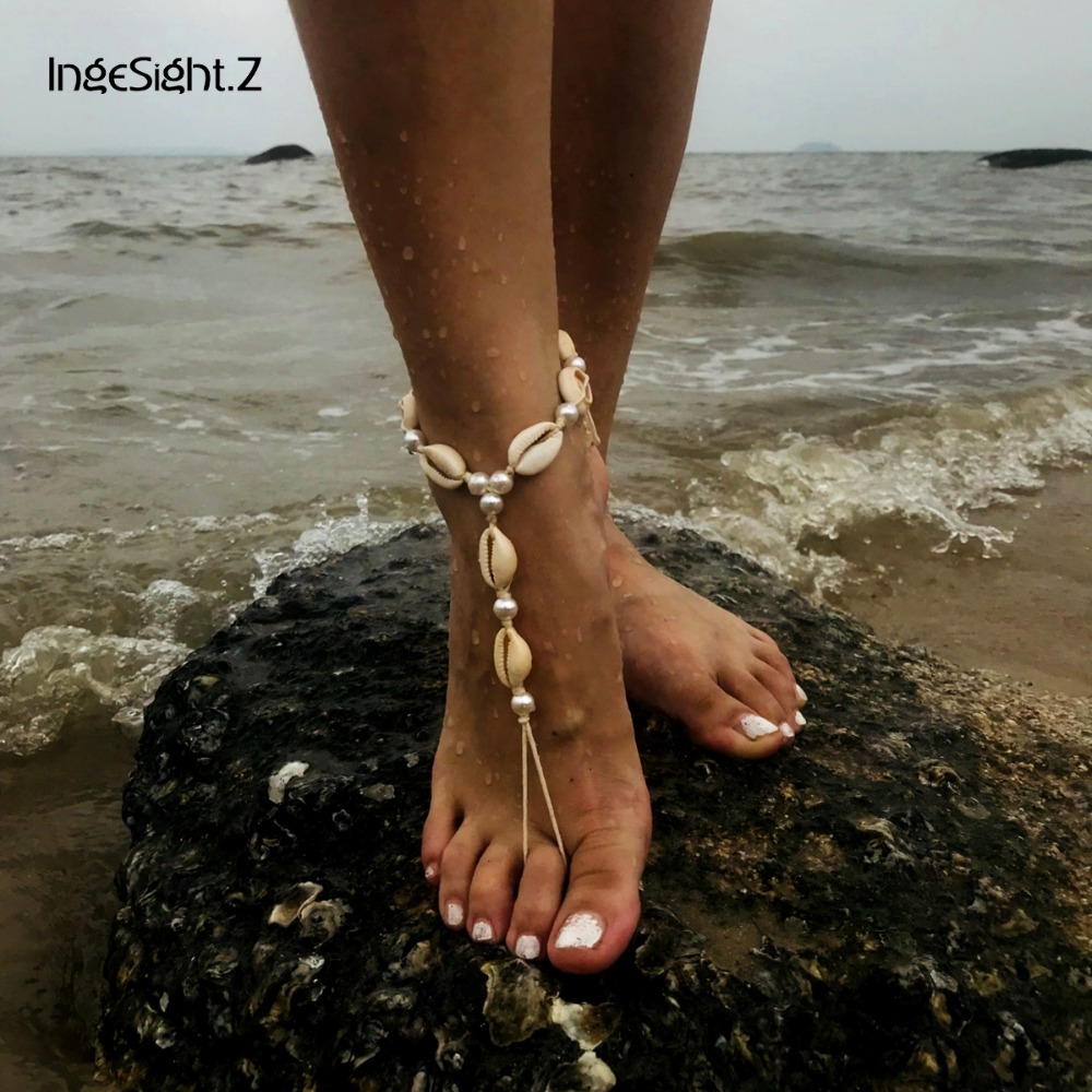 IngeSight.Z Bohemian Shell Anklet Bracelet Charm Simulated Pearl Foot Jewelry Beach Barefoot Sandals Ankle for Women Anklets