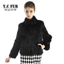 2016 Fashion Women Fur Coats Winter 2 Colors Natural Rabbit Fur Jackets With Collar Winter Fur Coat Female YC1109