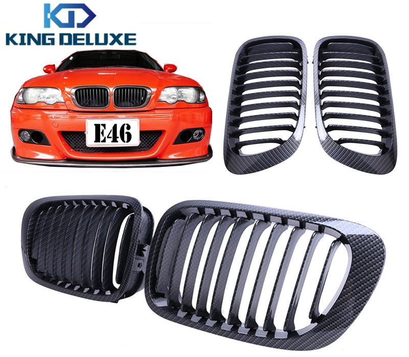 ФОТО 1set Fashion Design Carbon Fiber Black Kidney Grill Front Grilles For BMW E46 3 Series 2D 1999-2006 Car Styling Accessory #P196
