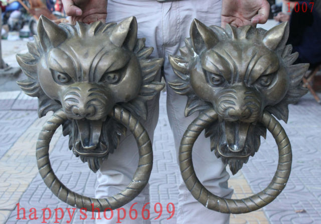 Chinese Old 17 Chinese BRASS Guardian Foo Fu Dog Lion Head Wolf Statue Door Knocker Pair decoration brass factory outlets