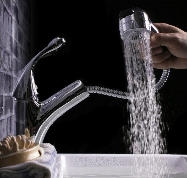 Rong Rong Ge Ge bathroom bathroom pulling type basin of cold hot water wash faucet bathroom cabinet rong lin