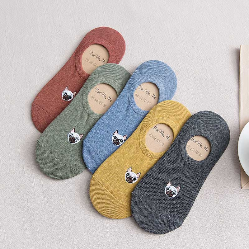 New Leisure Shallow Mouth Solid Color Short Sock Cartoon Puppy Breathable Comfortable Women Short Sock Chaussettes