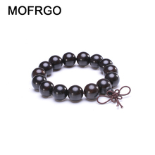 Natural Ebony Beads Bracelet Charm Buddhist Rosary Meditation Prayer Yoga Wooden Bracelet for Men Women Jewelry Dropshipping