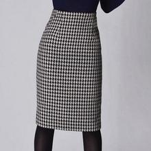 Модная женская юбка с узором «гусиная лапка» на весну, осень и зиму, Женская облегающая официальная юбка, Женская юбка-карандаш с высокой талией, юбки для женщин