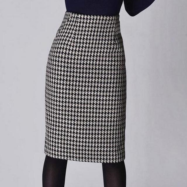 d9f2b34f8 Moda mujer primavera Otoño Invierno Houndstooth Falda Mujer Slim Fit Formal  falda señoras alta cintura lápiz Falda Mujer