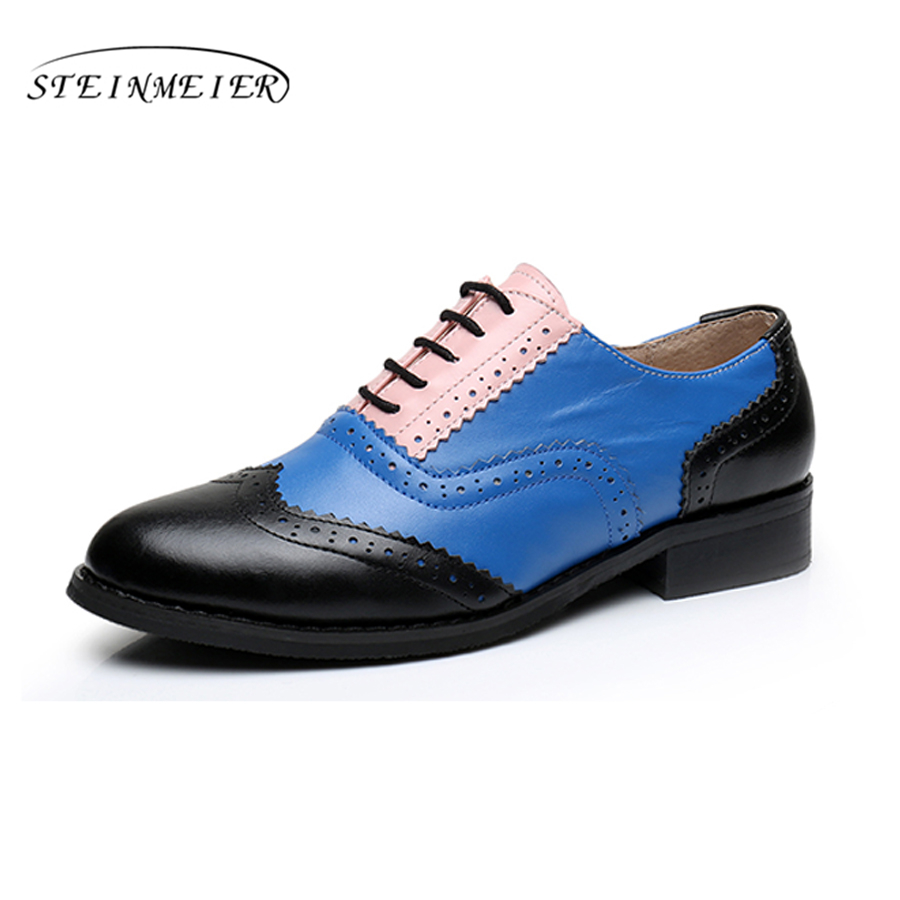 Genuine leather handmade flats shoes big woman US size 11 fur vintage 2017 brown blue red green round toe oxford shoes for women women shoes flats brown coffee green blue 100