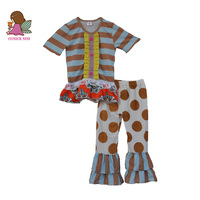 New Summer Kids Boutique Cotton Clothing  Stripes Lace Top With Belt Polka Dots Ruffle Pants Toddler Girl Outifits S094