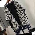 Женщины длинные кардиганы 2015 национальной ветра жаккардовые вязаный свитер шали бахромой Hem пальто MY-10