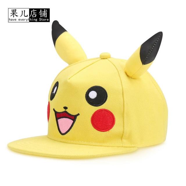 0a9a6aaad6171 Kids Adult Pokemon Go Cosplay Cap Drake Hip Hop Pikachu Pocket Monster Bone Dad  Hat Baseball Caps Charms Ash Ketchum Casquette