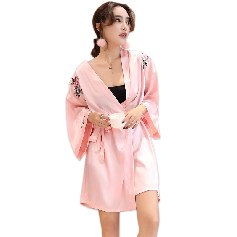 Silk Dressing Gowns Ladies: Sexy Pink Peony Embroidered Satins Silk Women Robes Kimono