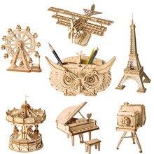 ROKR DIY 3D деревянные головоломки игрушки Сборная модель игрушки самолет веселый круг колесо обозрения пенал игрушки для детей Прямая поставка