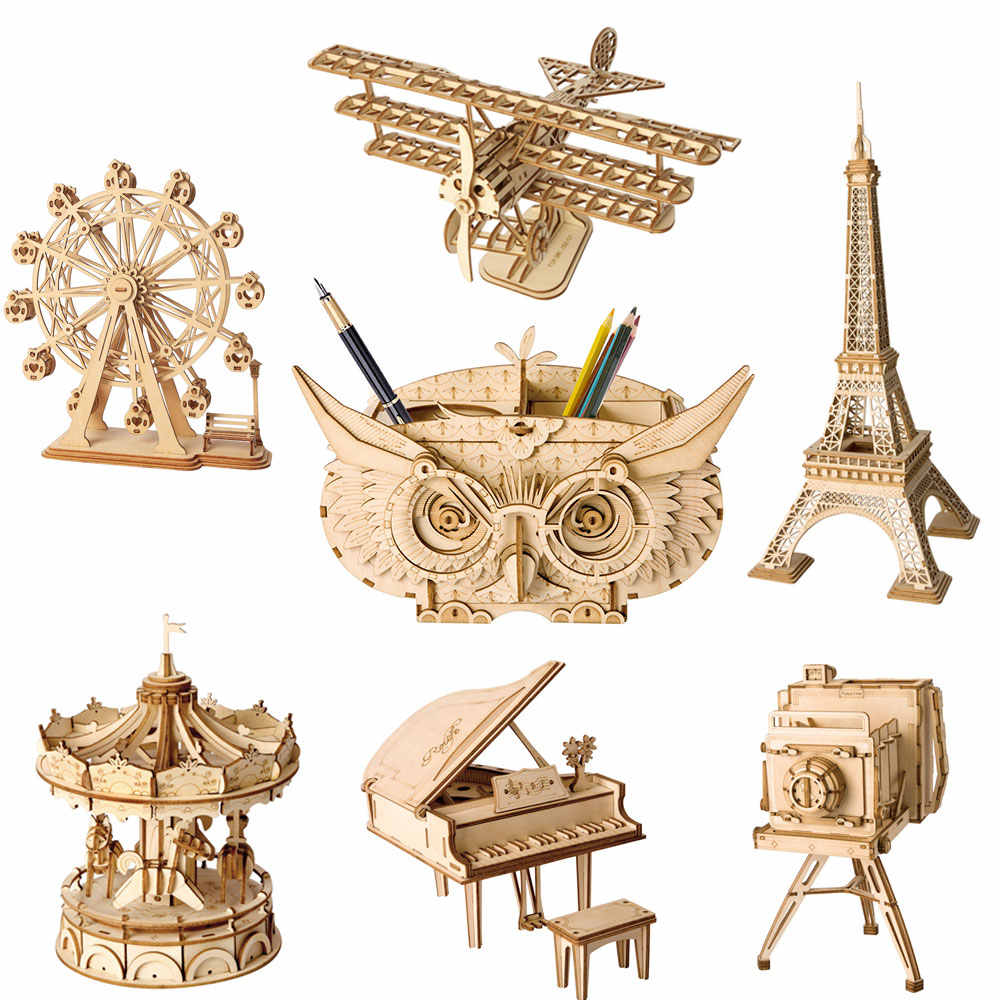 ROKR DIY 3D Wooden Puzzle Toys Assembly Model Toys Plane Merry Go Round Ferris Wheel Pencil Box Toys for Children Drop Shipping