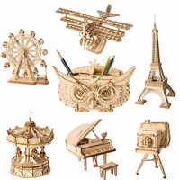 Robotime DIY 3D Wooden Puzzle Toys Assembly Model Toys Plane Merry Go Round Ferris Wheel Toys for Children Drop Shipping