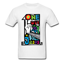 Colored Drawing Graphic Tops T-Shirt Mens One Way Jesus Boys Letter Print Fashion T Shirt Customized O Neck Tee Shirts