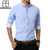 2017 Spring Oxford Shirt Men Fashion Dress Shirts Slim Fit Long Sleeve Male Social Casual Shirts