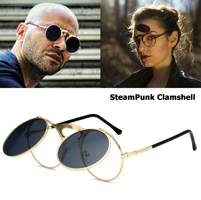 JackJad 2018 New Fashion VINTAGE Round STEAMPUNK Flip Up Solglasögon Steam Punk Clamshell Design Retro Sun Glasses Oculos De Sol