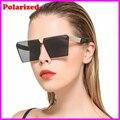 2017 de Moda de Lujo Cuadrados gafas de Sol Polarizadas Las Mujeres Diseñador de la Marca Celebrity Metal Hombres de Gran Tamaño gafas de Sol de Espejo lente
