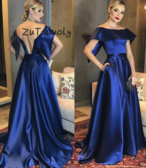 Sexy dos nu longues robes De soirée Robe De soirée arabe 2018 élégantes robes De bal avec poches ajusté Robe De Graduation bleu
