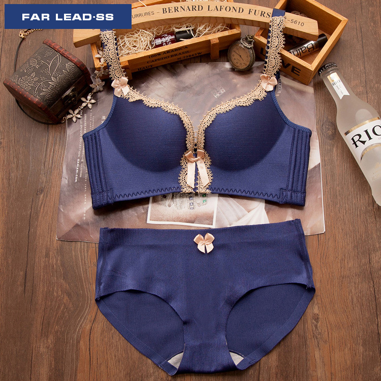 FAR LEAD New arrival palace noble luxury bra set Lace bowknot lingerie Push up bra sexy and elegant woman underwear suits