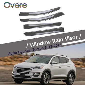 Overe 4Pcs/1Set Smoke Window Rain Visor For Hyundai Tucson 2015 2016 2017 2018 Styling Awnings Shelters Guard Accessories