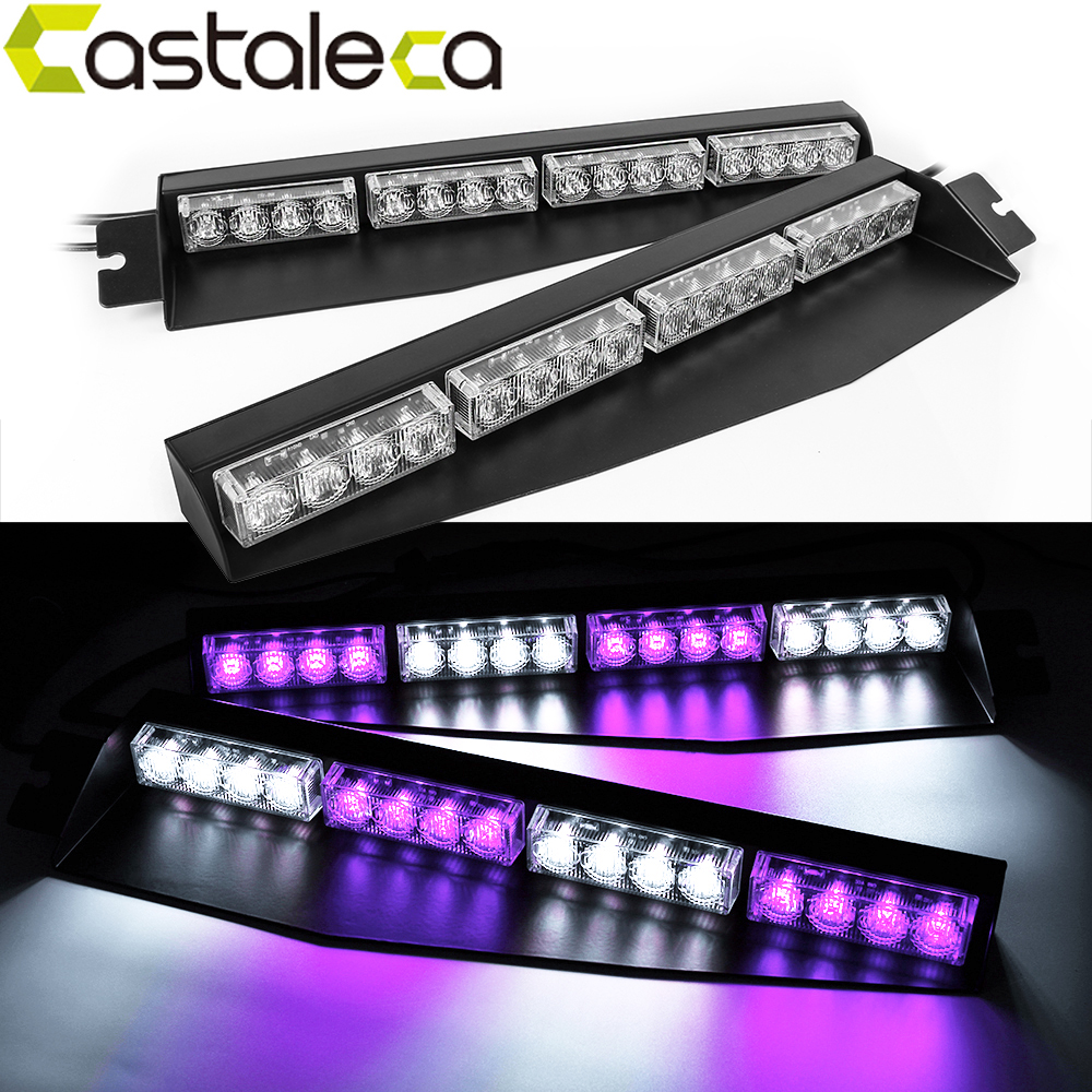 Castaleca Car Truck Police warning Strobe light Sun Visor 32led Visor Deck Dash Traffic Emergency Vechicle Flash Beacon fog lamp car truck emergency super bright 86 led strobe visor white light lamp