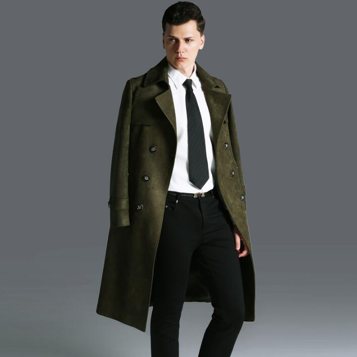 2017 autumn winter new designer trench coats mens long coat men clothes slim fit overcoat man long sleeve army green fashion