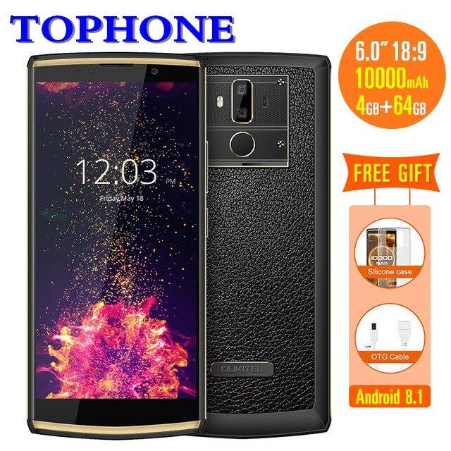 OUKITEL K7 Android 8.1 2160*1080 6.0 FHD 18:9 MTK6750T Octa-core mobile téléphone 4 gb RAM 64 gb ROM 10000 mah 13MP 4g LTE Smartphone