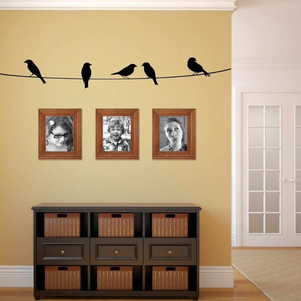 Sticker Oiseaux Sur Un Fil €3.49 25% de réduction|oiseaux sur un fil enfants mur art pépinière décor  stickers muraux oiseaux thème maternelle enfants stickers muraux enfant