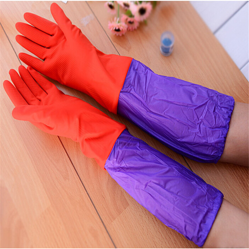 1pair/lot Winter Waterproof 2016 Hot-sale Warm Rubber Latex Dish Long Sleeves Household Kitchen Gloves For Washing Car Cleaning