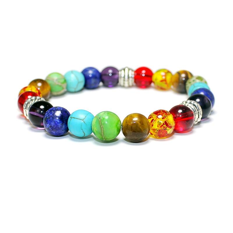 New Arrival Yoga Meditation Bracelet Charms Chakra Balance Rainbow Beads Strand Braclet For Women Men Cuff