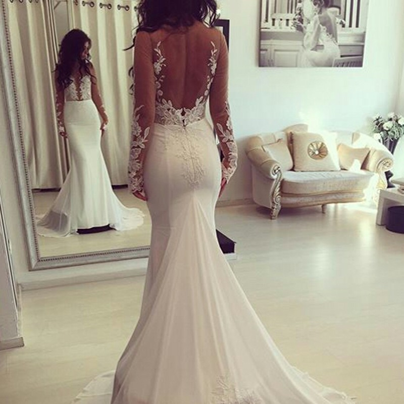 Beautiful Romantic Lace Mermaid Wedding Dresses Appliques Long ...